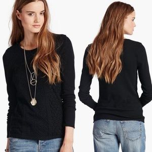 Lucky Brand Lace Patched Thermal Shirt Black